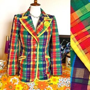 True Vintage🌈70s Rainbow Plaid Seersucker Blazer!